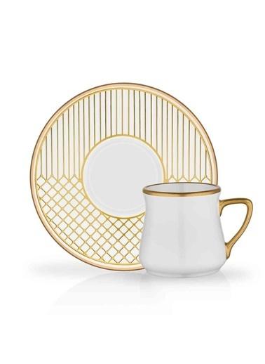 Glore Glore Lema 6'Lı Porselen Türk Kahvesi Fincan Seti Altın Yaldız - Mat Yaldız Renkli